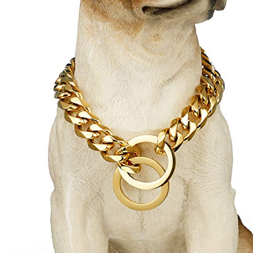 Tobetrendy Gold Chain Dog Collar 15mm Cuban Link Dog Chain for Pitbull Choke Collar Metal Stainless Steel Heavy Duty Slip Dog Collars(15MM, 16')