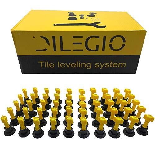 DILEGIO Fliesennivelliersystem mit Wasserwaagenlibellen, wiederverwendbar, Kit mit fliesen werkzeug, verlegehilfe fliesen, Clips, Bodenbelag Wand, fliesenverlegehilfe + Spezialschlüssel