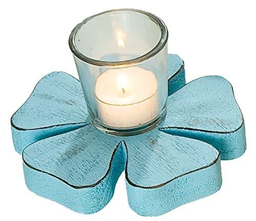Gilde Kerzenhalter Teelichthalter Windlichthalter Dekoteelichthalter in Blümchenform mit Glas, blau, 8x14 cm