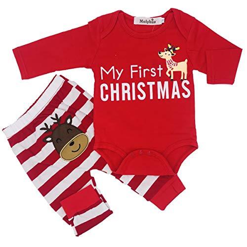 Kids Pajamas Set Cotton,Girls Boys PJS Set Long Sleeve T-Shirt with Pants Set(Red,90(6-12Month))