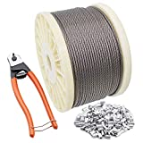 BLIKA 400FT 1/8 T316 Stainless Steel Wire Rope Cable with Cable Cutter, Aircraft Cable for...