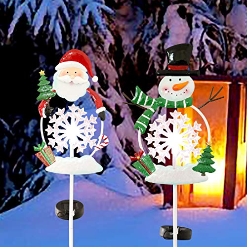 Kurala 2 Pack Solar Garden Lights Outdoor Waterproof Christmas Decoration Santa and Snowman