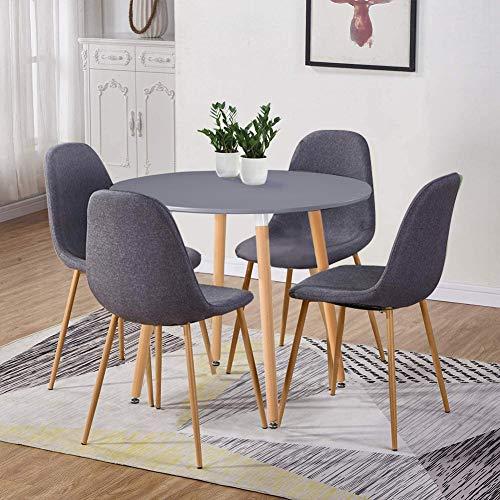 GOLDFAN Esstisch mit 4 Stühlen Matt Esstisch aus Holz Rund Stuhl aus Stoff Mit Metallbeinen für Wohnzimmer Esszimmer Küche, Grau + Grau
