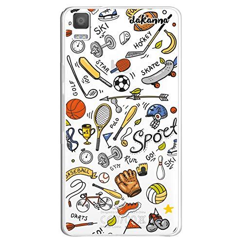 dakanna Funda para [Bq Aquaris E5 4G - E5S] de Silicona Flexible, Dibujo Diseño [Pattern Figuras Deportivas, Tenis, Bicicleta, Futbol, Baloncesto y Gimnasio], Color [Fondo Transparente]