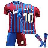 JTYDFG Camisetas para Hombre, Camiseta De La 1a Equipación del Barcelona No. 10 Camisetas De Messi, Camisetas para Adultos Y Niños con Calcetines,Red Blue,XL