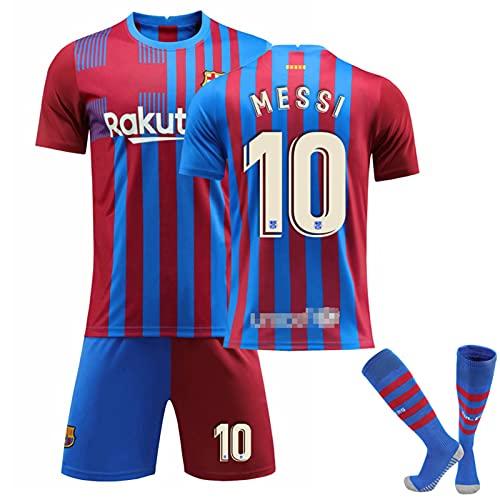 JTYDFG Maglie per Uomo, Maglia Barcellona Home N. 10 Magliette Messi, Magliette per Adulti E Bambini con Calzini,Red Blue,18