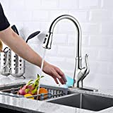 Product Image of the Touchless Kitchen Faucet with Pull Down Sprayer, Kitchen Sink Faucet with Pull Out Sprayer, Single Hole and 3 Hole Deck Mount, Single Handle For Automatic Motion Sensor, Brushed Nickel, FORIOUS