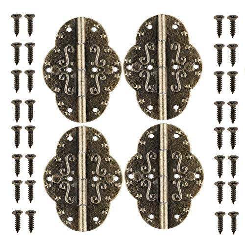 GTHER 4PCS 69x53mm Antique Retro Hinges with Screws for Cabinet Door Cupboard Jewelry Box Gift Wood Box Wooden Furniture, Bronze
