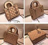 ZYD Bolso Tote Bolsos de Charol con Bolsos de diseño para Mujer, Bolso de Hombro con Cadena, 21 cm Caqui
