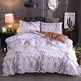 CXYXHW Juego de ropa de cama de 3 piezas con diseño de mármol, funda nórdica moderna, suave y transpirable, microfibra, con funda de almohada (amarillo, 220 x 240cm)