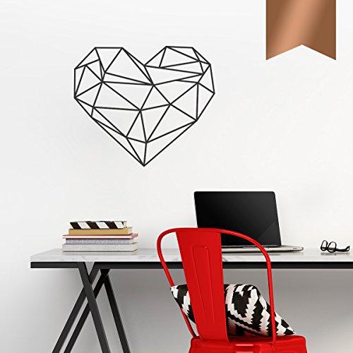 WANDKINGS Wandtattoo - Origami-Style Herz - 50 x 43 cm - Kupfer - Wähle aus 5 Größen & 35 Farben