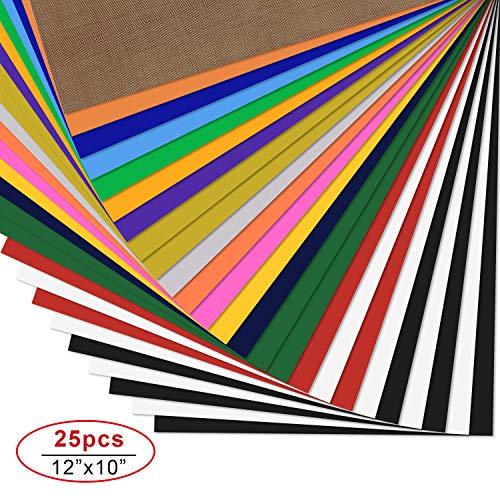 PlotterfolieTextil-25 PackHeatTransferVinyl30.5cm*25.4cm,16Farben,FlexfoliefürCricut&SilhouetteCameo,BONUSTeflonfürHeißePresseoderHaushaltseisenaufDIYT-Shirts&Stoffe