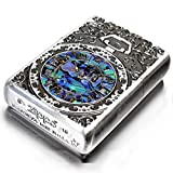 Zippo Armor Case Watch Arabesque Shell Inlay Both Sides Etching Silver Japan Limited