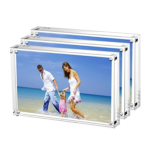 AmeiTech Acrylic Picture Frames, 4x6 Clear Double Sided Block Set, Desktop Frameless Magnetic Photo Frame (3 Pack)