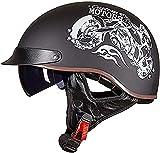 XLYYHZ Medio Casco de Motocicleta Retro para Hombres y Mujeres, Gorra de béisbol de Moda, Modelado, Certificado por Dot, Casco Abierto para Adultos, Bicicleta, Crucero, helicóptero, ciclomotor, SCO