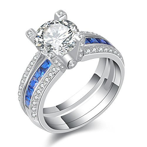 Newshe Wedding Rings for Women Engagement Ring Sets Blue Sapphire Cz Sterling Silver Round Size 9