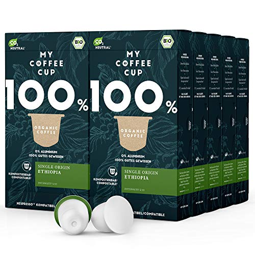 My Coffee Cup – SINGLE ORIGIN ETHIOPIA – BIO-KAFFEE 10 PACKUNGEN I 100 Kaffeekapseln für Nespresso®³Kapselmaschinen I 100% industriell kompostierbare Kaffeekapseln – 0% Alu I Nachhaltige Kaffeekapseln