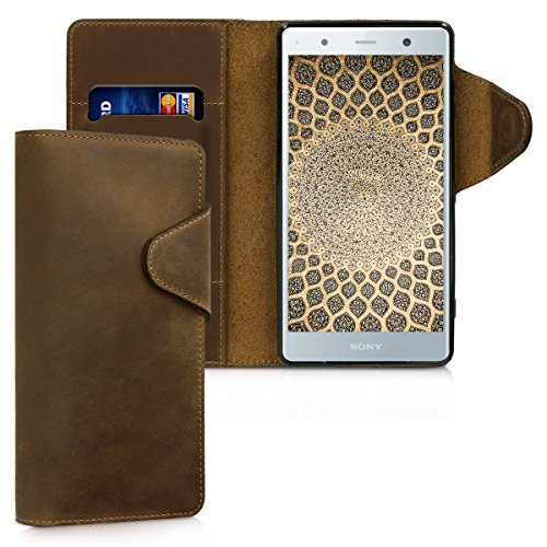 kalibri Wallet Hülle kompatibel mit Sony Xperia XZ2 Premium - Hülle Leder - Handy Cover Handyhülle in Braun