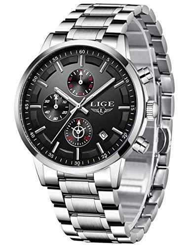 LIGE Herren Uhren Männer Mode Militär Edelstahl Silber Schwarz Wasserdicht Chronograph Armbanduhr Mann Elegant Datum Kalender Freizeit Sport Dress Quarz Uhr