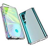 Jonwelsy Hülle für Xiaomi Mi Note 10 / CC9 Pro, Magnetische Adsorption Metall Stoßstange Flip Cover mit 360 Grad Schutz Doppelte Seiten Transparent Gehärtetes Glas Handyhülle für CC9 Pro (Silber)