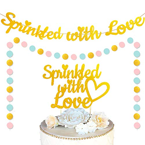 JeVenis Set of 3 Glitter Sprinkled with Love Banner Baby Sprinkle Decor Baby Shower Banner Baby Shower Decorations
