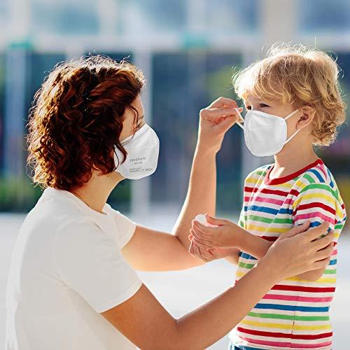 Medisana FFP2/KN95 5x Atemschutzmasken Staubmaske RM 100 Atemmaske 3-lagige Staubschutzmaske Mundschutzmaske einzelverpackt im PE-Beutel zertifiziert CE2834 - EU 2016/425 - 2