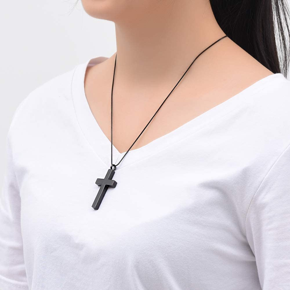 Imrsanl Crystal Cross Necklace for Ashes - Stainless Steel Keepsake Cremation Jewelry - Religious Cross Memorial Urn Necklace for Pet Human Ashes Pendant
