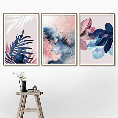Arte de la Pared Pintura de la Lona Flor Rosada Azul Hojas Tropicales Abstractas nórdicas Carteles e Impresiones Imágenes de la Pared para la decoración de la Sala de Estar Sin marco-50x70cmX3