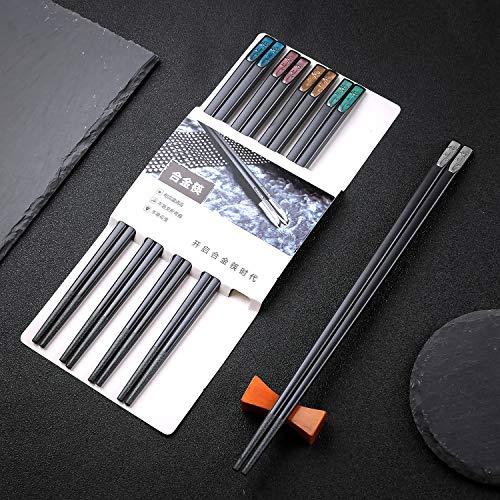 hopewey Palillos japoneses 5 Pares de bastidores de Almuerzo de aleación Reutilizables bastidores Lavables para Juegos de vajilla de Mesa con Lujo Negro Hecho a Mano G4