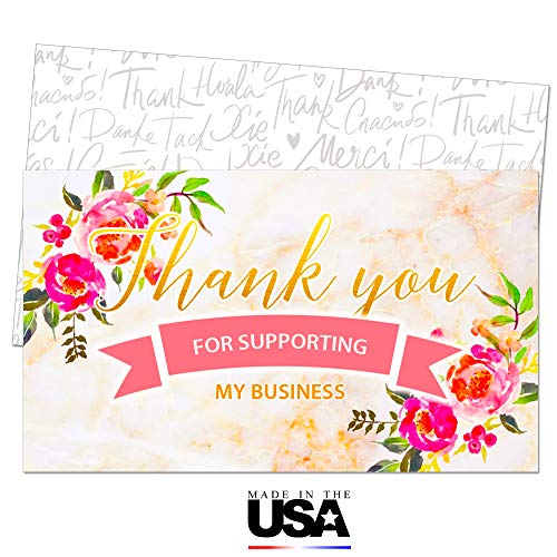 85 Thank You for Supporting My Business Note Cards - Pink Customer Appreciation Notes - Package Insert - Pen Friendly Back - Business Card Size