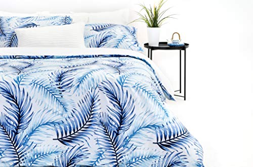 Marsala Home King Size Duvet Cover Bedding Bed Set 100% Cotton Teal & Dark Blue Palm Leaf Printed Botanical 200TC Percale 3 Pieces with Pillowcases Quilt Cover Set (Kleo Kingsize)