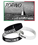 Tex Family Lot de 3bracelets officiels de la Juventus + Carte Postale de Turin