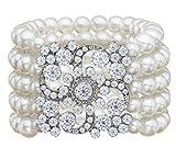 Art Deco Bracelet Gatsby 5 Rows Fashion Faux Pearl Elastic Bangle 20s Flapper Accessories Jewelry