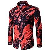 Katenyl Camisa con Estampado de Color en Contraste para Hombres, Tendencia Delgada, Solapa de Moda, Ropa de Calle Diaria, Tendencia, Camisas básicas Informales al Aire Libre L
