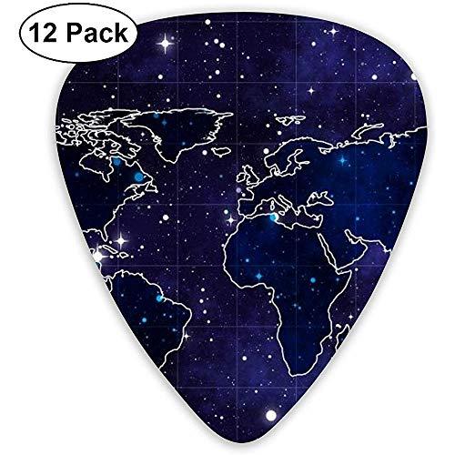 12 Pack Gitaar Picks, Space Map Print Celluloid Gitaar Pick Set Voor Akoestische Elektrische Gitaar Bas Mandolin Ukulele 0.46mm 0.71mm 0.96mm