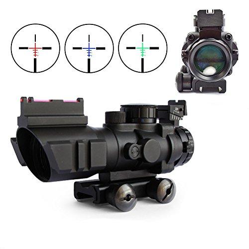 Luftgewehr Zielfernrohr 4x32 Airsoft Sniper Visier Mit 20 / 22mm Schienen Montage Leuchtpunktvisier mit Fiberopti für Jagd und Softair (A)