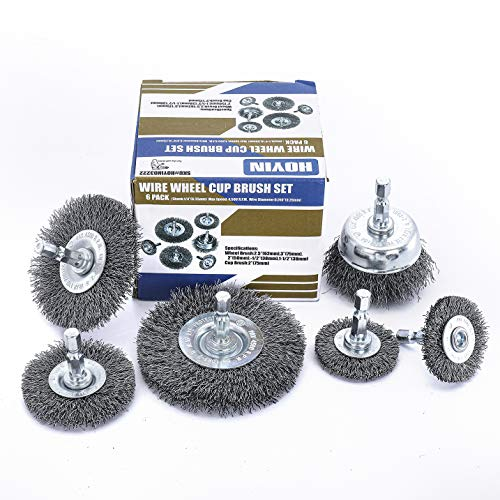 HOYIN 6Piece Drill Wire Wheel Cup Brush Set,0.010in Coarse Crimped,Thicken Face Width with1/4In Hex Shank