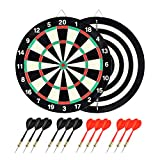 Tian ma Bound Paper Dartboard 15in 2-in-1 Dart Board Game Set with Twelve Included Steel Tip Darts Room Game Easy to Use
