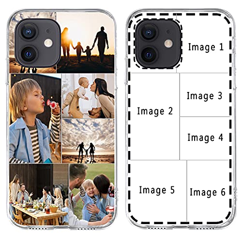 Custom Multiple Pictures Phone Case for iPhone 11 12 Pro Max X XR Xs Max, Personalized Phone Cases,Customized Photos Clear TPU Cover Gift for Best Friend,Family,Grandma, Xmas Valentines s