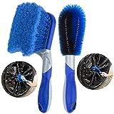 Petutu [2-Pack] Wheel Brush Hub Brush for Car, Short Handle Tire Cleaning Brush