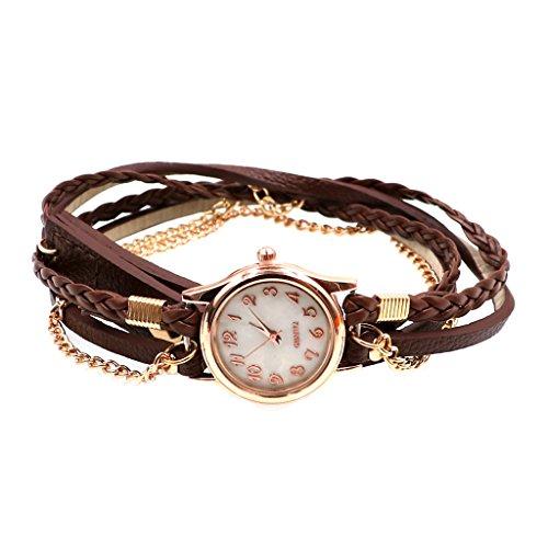 joyMerit Las Señoras de Las Mujeres de La Vendimia Tejen El Reloj de Pulsera de La Pulsera de La Cadena de Piel Sintética del Abrigo - marrón