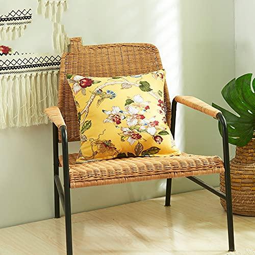KLily Funda De Almohada Decorativa De Flores, Pájaros Y Hojas De Estilo Americano Funda De Almohada De Sofá De Casa De Oro Blanco Y Negro Moderno De Moda Simple