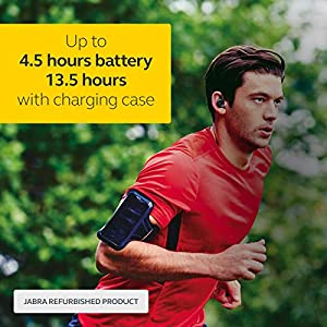 Jabra Elite Sport True Wireless Waterproof Fitness & Running Earbuds with Heart Rate and Activity Tracker-Advanced Wireless connectivity and Charging case-4.5 Hour (Renewed)