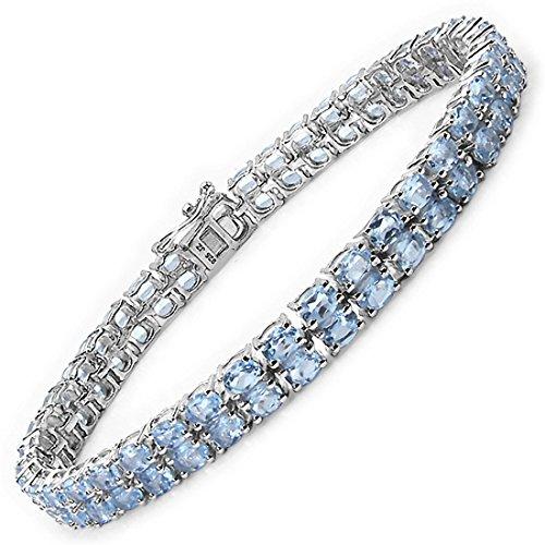 Schmuck-Schmidt-Blautopas Armband 925 Silber-Rhodiniert-19,00 Karat-76 Edelsteine