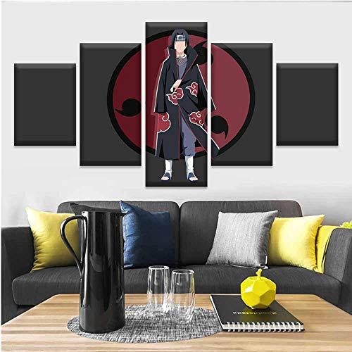 sakkdaull canvas schilderij 5 stuks Anime Naruto Itachi Uchiha afbeeldingen gedrukt Home Decoration Poster Woonkamer Wand Artwork