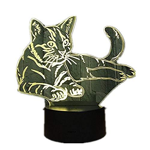 Lying Down Kuschelige Katze 3D LED Lampe Acryl Nachtlicht USB Touch Licht Kinder Cute Night Schlafzimmer Licht Freizeit 7 bunte Geschenke