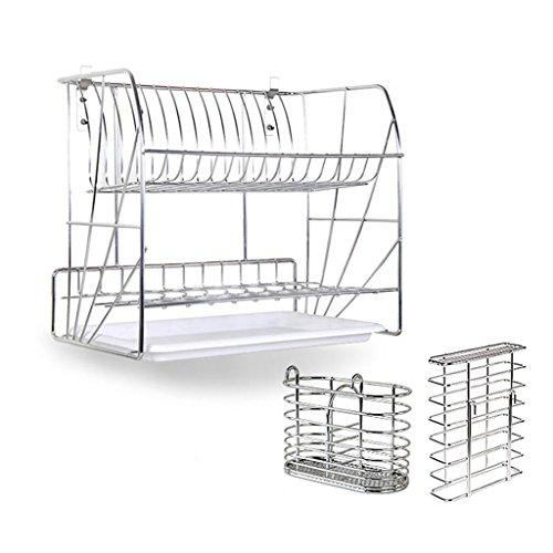 Porte-vaisselle en acier inoxydable haut de gamme Double Tire mur suspendu Bowl étagère de fuite étagère de cuisine mur vaisselle Racks 40.8 * 25.6 * 35.7cm ( edition : G , taille : 40.8*25.6*35.7CM )