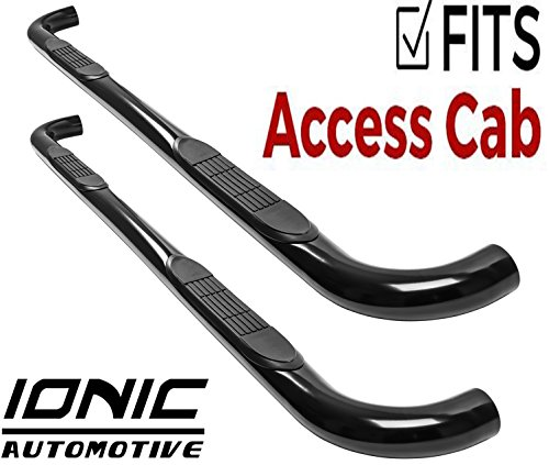 """Ionic 3"""" Black (fits) 2000-2006 Toyota Tundra Access Cab Only Nerf Bars Side Steps (230940)"""