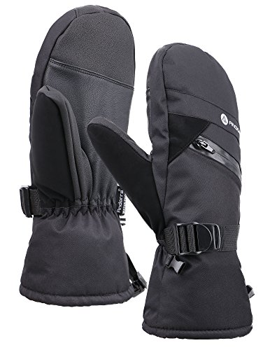 Andorra Men's Thinsulate Insulated Snowboarding Mittens with Zippered, Black, L/XL