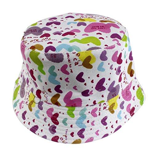 Hillento coloré unisex-baby bébé enfant pêcheur seau chapeau chapeau de protection solaire à rayures larges, violet et rose coeurs